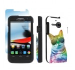Alcatel One Touch Evolve 5020T Black Full Protection Designer Case + Screen Protector By SkinGuardz – Sunny Cat