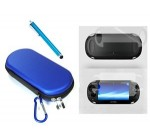COSMOS ® 3 SET Blue Color Hard travel case cover bag with carabiner memory/game card pocket for Playstation PS Vita + Front & Back LCD Screen Protector + Blue Stylus Universal Touch Screen Pen for Sony PS VITA,Kindle Fire HD + Free Cosmos Brand LCD touch screen Cleaning Cloth