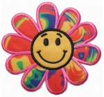 Psychedelic Hippie Flower Power Daisy Happy Face Iron On Patch