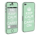 Apple iPhone 4 or 4s Full Body Vinyl Decal Sticker Skin Mint Keep Calm And Carry On By Skinguardz