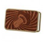 Psychedelic Mushroom Art Design Graphic Trippy Illusion Buckle Real Wood BRONZE
