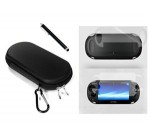 COSMOS ® 3 SET Black Color Hard travel case cover bag with carabiner memory/game card pocket for Playstation PS Vita + Front & Back LCD Screen Protector + Black Stylus Universal Touch Screen Pen for Sony PS VITA,Kindle Fire HD + Free Cosmos Brand LCD touch screen Cleaning Cloth