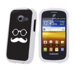 Samsung Galaxy Discover S730G White Protection Case – Black Mustache By SkinGuardz