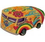 Psychedelic Hippie Bus Embroidered Iron On Applique Patch P4058