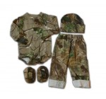 Realtree Baby Set – Infant Boys APG LS Creeper Pants Hat Booties 4PC Gift Set (3-6 Month, Realtree APG)