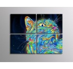 4HC0993 Psychedelic art Magic cat 32×24 SECTIONAL FRAMED CANVAS Print Reviews