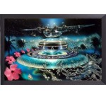 Psychedelic Poster and Frame (Aluminium) – Caribbean Fantasy (By John Stevens) (36 x 24 inches)