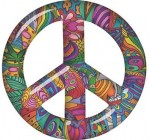 Interior Wall Design Peace Symbol Decal with Psychedelic Art