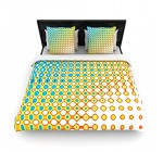 Kess InHouse 88 by 104″ Dawid Roc Psychedelic Art Woven Duvet Cover, King, Yellow Blue
