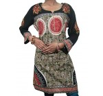 Boho Tunic Cover up Black Embroidered Printed Georgette Kurti Dress Womens, M Sz Reviews