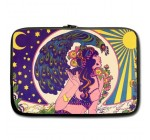 Super Specials Psychedelic Hippie Goddess Girl Peacock Sun Moon Star Water Resistant Neoprene Laptop Sleeve 13 Inch Notebook Computer Bag Case Cover(Twin Sides)