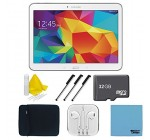 Samsung Galaxy Tab 4 White 16GB 10.1″ Tablet, 32GB Card, and Case Bundle – Includes tablet, 32 GB Micro SD Memory Card, 10″ Sleeve for Tablets, Audio Earbuds with Microphone, 3 Stylus Pens with Pocket Clip, and 3pc. Lens Cleaning Kit