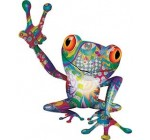 Interior Wall Design Cool Peace Frog Decal with Psychedelic Art