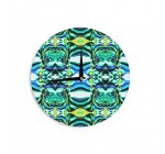 """KESS InHouse Dawid Roc """"Inspired By Psychedelic Art 5″ Blue Abstract Wall Clock, 12″"""