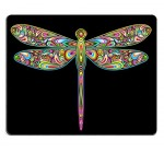 Liili Mouse Pad Natural Rubber Mousepad IMAGE ID: 16478728 Dragonfly Psychedelic Art Design