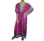 Women's Long Print Kaftan Abaya Short Sleeve Blouse Beach Fashion Summer Dress