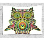 Ambesonne Owls Home Decor Collection, Ornate Colorful Owl with Ethnic Elements Legend Eye Feather of Universe Psychedelic Artwork, Bedroom Living Room Dorm Wall Hanging Tapestry, 60 X 40 Inches, Multi