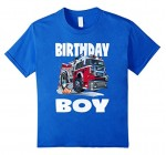 Birthday Boy Fire Truck Vintage Bday Trucks T-Shirt On Sale
