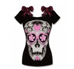 LOOLY Summer Women Gothic Rockabilly Vintage T-shirt Off the Shoulder Jersey Top