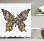 Butterflies Decoration Shower Curtain Set by Ambesonne, Butterfly Psychedelic Art Design Wildlife Eyes Pattern Artistic Fashionable , Bathroom Accessories, 69W X 70L Inches