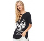 Julia Front Lace Up V Neck Printed Short Sleeve Graphic T Shirt Top Tunics Junior Sizes