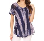 Sakkas Valencia Tie Dye Sheer Cap Sleeve Embellished Drawstring Scoop Neck Top Reviews