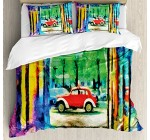 Psychedelic Duvet Cover Set by Ambesonne, Colorful Passage Psychedelic Art Retro Car Moving on the Way in Town Image, 3 Piece Bedding Set with Pillow Shams, Queen / Full, Multicolor