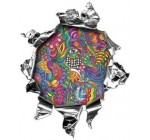 Interior Wall Design Mini Rip Torn Metal Bullet Hole Style Graphic Decal / Stricker with Psychedelic Art Design
