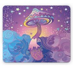 Mushroom Mouse Pad by Lunarable, Magic Mushrooms Psychedelic Hallucination Vibrant 60′s Style Hippie, Standard Size Rectangle Non-Slip Rubber Mousepad, Purple Pale Blue Yellow