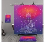 Uhoo Bathroom Suits & Shower Curtains Floor Mats And Bath Towels 357150713 Statue of Buddha in the lotus position, meditation. Geometric element hand drawn. Psychedelic Poster in the style of 60\ For Reviews
