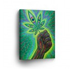 SMOKE WALL ART CANVAS PRINT Man Holding Marijuana Leaf Psychedelic Art Get High on Weed Home Decor Decorative Artwork Gallery Wrapped Wood Stretched Ready to Hang – %100 Handmade in the USA – 28×19