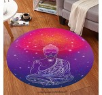 Sophiehome Soft Carpet 357150713 Statue of Buddha in the lotus position, meditation Geometric element hand drawn Psychedelic Poster in the style of 60 Anti-skid Carpet Round 34 inches