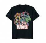 Marvel Avengers Team Retro Comic Vintage Graphic T-Shirt
