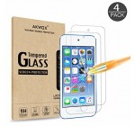 [4 Pack] New iPod touch (6th Gen, 2015 Released) Tempered Glass Screen Protector, AKWOX 0.3mm Ultrathin Screen Protector with [9H Hardness] [Super Clarity] [Scratch-Proof] [No-Bubble Installation]