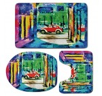 3 Piece Bath Mat Rug Set,Psychedelic,Bathroom Non-Slip Floor Mat,Colorful-Passage-Psychedelic-Art-Retro-Car-Moving-on-the-Way-in-Town-Image,Pedestal Rug + Lid Toilet Cover + Bath Mat,Multicolor