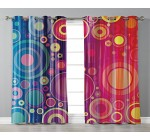 iPrint Stylish Window Curtains,Art,Grunge Inspired Abstract Vivid Circles Forming Artistic Expression Psychedelic Art,Royal Blue Red,2 Panel Set Window Drapes,for Living Room Bedroom Kitchen Cafe Reviews