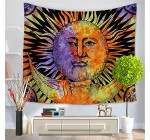 Qchengsan Psychedelic Tapestry,Moon Sun Many Fractal Faces Celestial Energy Mystic, Wall Hanging Bedroom Living Room Dorm (51×59 inch, 6)