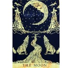 The Art Box The Moon Crying Wolf Beautiful Bohemian Room Dorm Decor Hippie Indian Small Boho Tapestry Psychedelic Poster Size 40 x 30 Inch Approx. (Yellow)