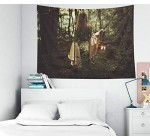 Musesh Psychedelic Art Gold Tapestry, Tapestries Wall Hanging for Bedroom Living Room Decor Inhouse Woman Walking in Fairy Forest with a Lantern Fantasy 80×60 Inches Size
