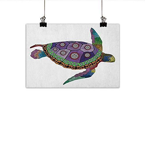 homehot Psychedelic Art Oil Paintings Sea Turtle with Colorful Ornamental Style Tattoos on Animal Art Work Canvas Prints for Home Decorations 24″x20″ Purple Orange Pink
