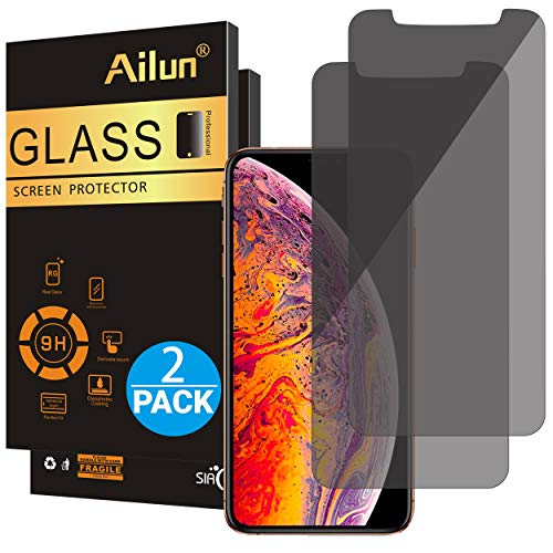 Ailun Privacy Screen Protector Compatible with iPhone Xs Max(6.5inch 2018 Release),[2Pack],Anti Spy Tempered Glass,Anti-Scratch,Case Friendly